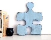 Puzzle Piece 1 in Soft Blue Pine Wood Sign Wall Decor Rustic Americana Country Chic Photo Prop Nursery Kids Decor