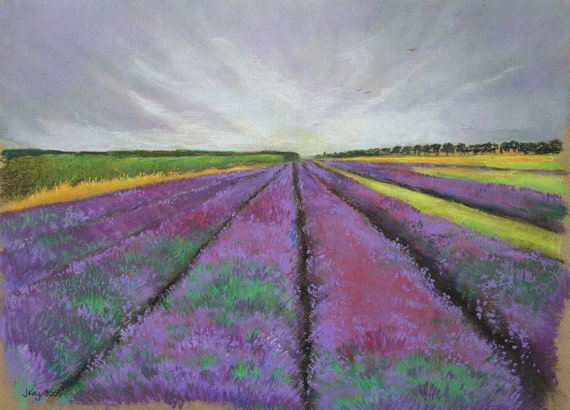 Norfolk Lavender Fields - Original Pastel Drawing - Mothers Day Gift Idea