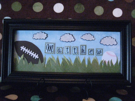 Football & Baseball Sport Baby or Child Personalized Name Frame