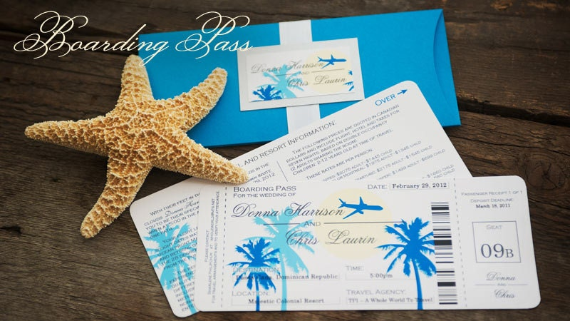 Destination Wedding Invitation Wording Samples: Sample Boarding Pass Destination Wedding Invitation