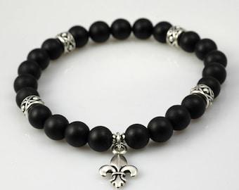 Versailles collection - black onyx and silver fleur de lis stretch bracelet