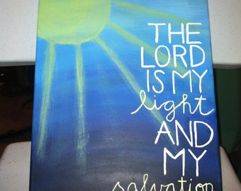 Canvas Painting - Psalm 27:1 - Sun