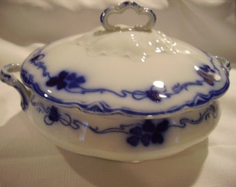 Flow Blue Clover Covered Round Serving Bowl Vintage Gorgeous