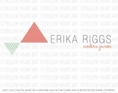 Modern Designed Logo For Your Business or Shop in Coral and Mint by Yellow Heart Art Design