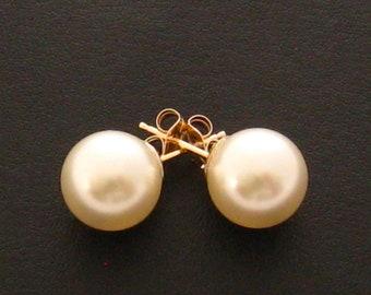 Pearl Stud Earrings,14 Carat Gold Filled 10 mm Large Pearl Earrings, Sweet 16, Pearl Ear Studs, Wedding Jewelry, Bridesmaids Gifts