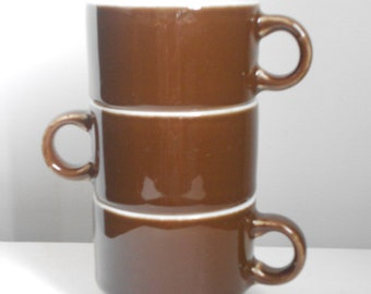 SET OF 3 - Nesting Mugs - Chocolate Brown - Porcelain - Stackable Cups - Cappuccino Heaven - Retro - MidCentury Modern - Espresso For 3