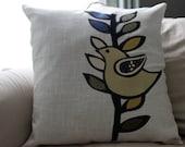 Appliqued Modern Bird Linen Pillow Cover