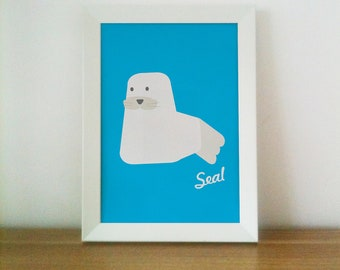Seal illustration, Retro feel