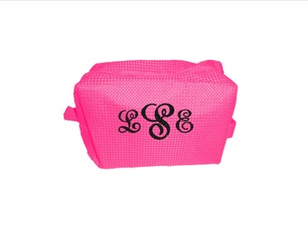 Waffle Weave Cosmetic Bag - Multiple Colors Available