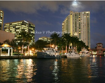 New River Downtown city of Fort Lauderdale night photo 8x12 fine art photography print