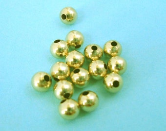 50x 3mm 14k gold filled round seamless shiny bead spacer S03g