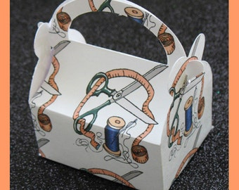 quilters favor box, sewing favor box, quilters party favor box,quilters supplies
