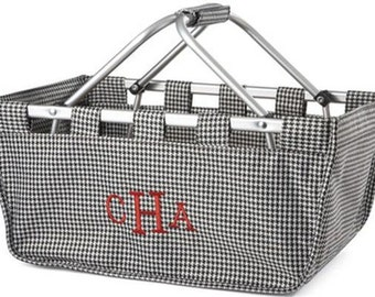 "Large Houndstooth 18"" Market Tote with free embroidery"