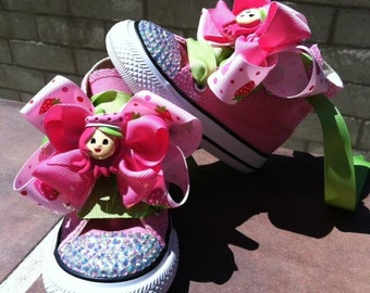 STRAWBERRY SHORTCAKE SHOES - Swarovski Crystals - Strawberry Shortcake Birthday - Pink Converse shoes lime green laces- Sizes 2-13