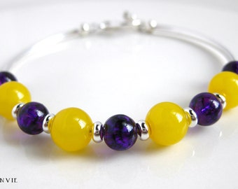 LSU Bracelet, Purple & Yellow Glass Beads, Silver Curved Tubes, Beaded Bangle Bracelet