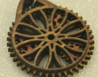 Cathedral Windows Wooden Gear Pendant with working gears & brass ball chain