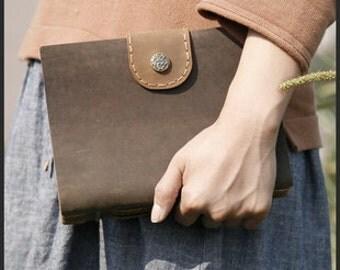 dark green leather journal , blank paper notebook ,longstich handbound,unique gift