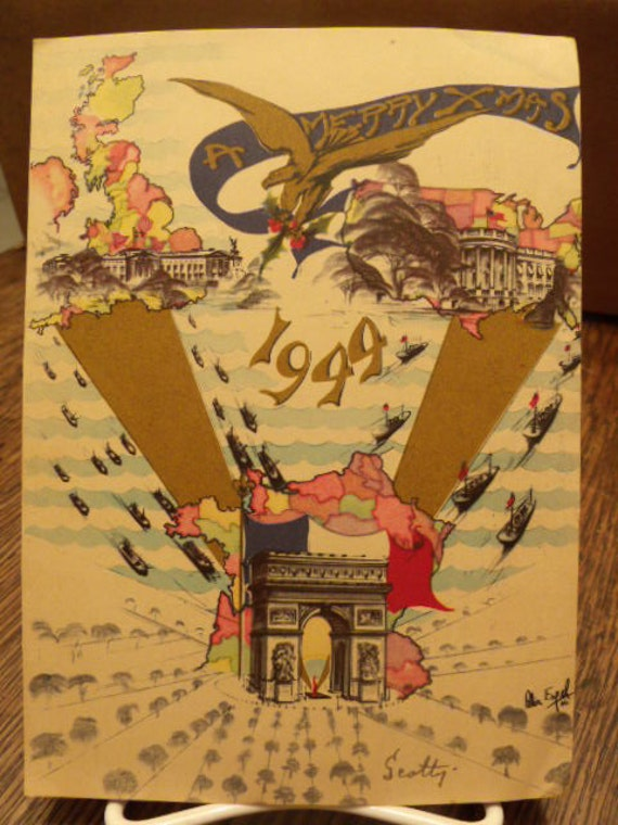 WWII Merry Christmas, 1944 Liberation of  Paris,France Art card