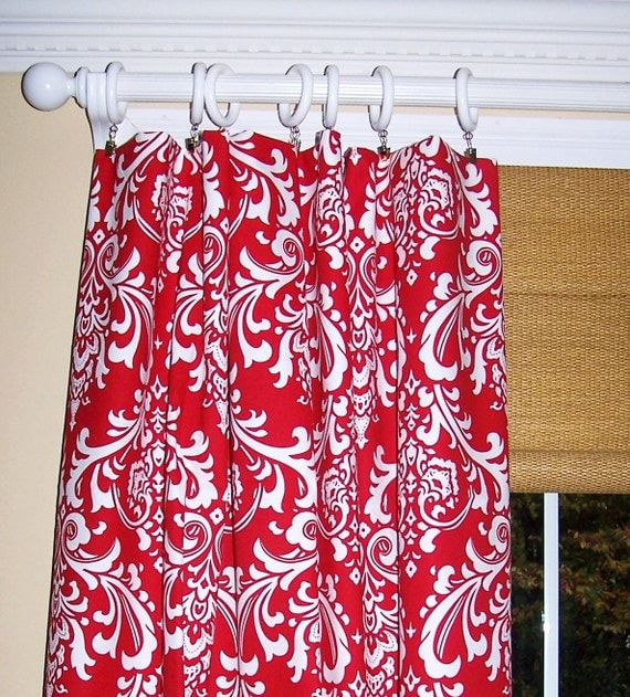 RED DAMASK CURTAINS White Background Premier Prints Fabric Two Drapery ...