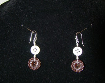 Brown and  White Dangle Earrings handmade  with Antique Buttons and Sterling Silver