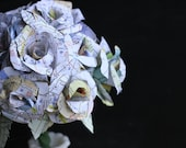 Map Paper Flowers- Wedding Bouquet-Fall- Home Decor- Party-Rose-Centerpiece-Paper Wedding Bouquet-Recycled - WeaselBees