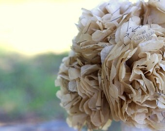 Wedding Bouquet- Sewing Pattern Tissue Paper-Bridal Bouquet-Flowers-Tan-Peony
