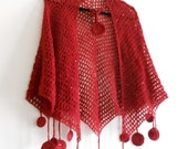 Crochet Useful Red Shawl Etol, Cloak, Handmade, Spring Summer Fashion - QueensAccessories