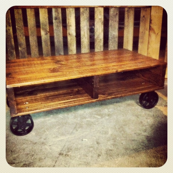 Industrial Cart Coffee Table With Cast Iron By Jsreclaimedwood
