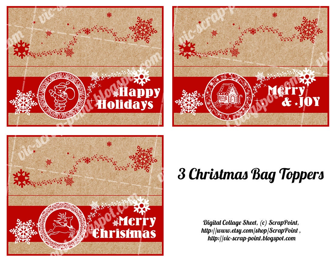 Adorable image with christmas bag toppers free printable