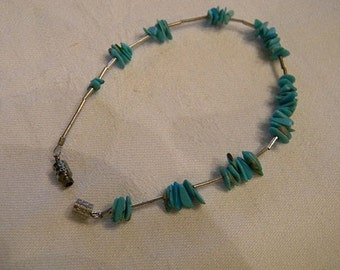 Hand Made 925 Sterling Silver Vintage Turquoise Bracelet weight 3.2 grams length 7 inches