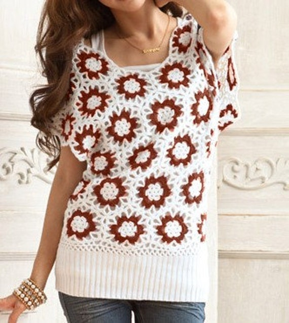 Women sweater  lovely hook flower hollow-out sweater--SW036