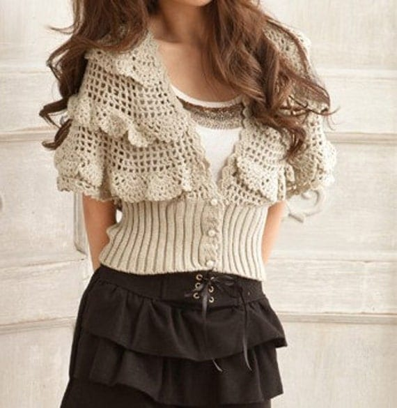 Women sweater  lovely hook flower hollow-out sweaterApring Autumn sweater--SW039