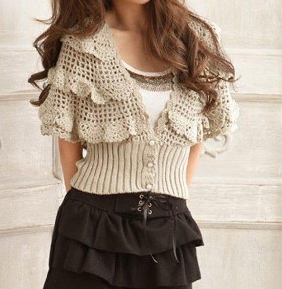 زنان ژاکت قلاب دوست داشتنی گل توخالی ژاکت پاییز sweaterApring - SW039