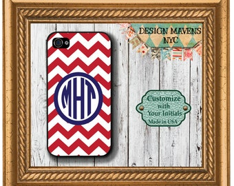 Preppy Red Monogram iPhone Case, Personalized iPhone Case, iPhone 4, 4s, iPhone 5, iPhone 5, 5s, iPhone 5c, iPhone 6, Phone Cover