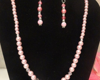 Pink Pearl Necklace with Pearl Drop Earrings