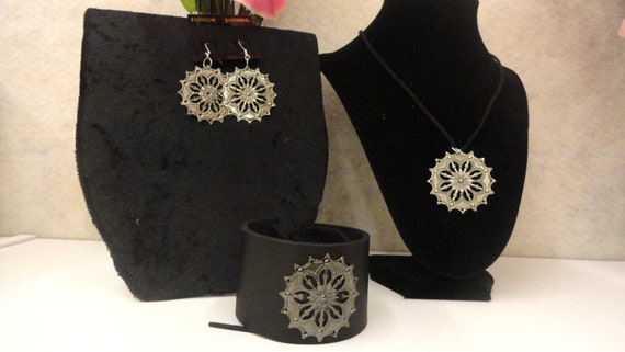 Leather Bracelet/Suede Necklace and Earrings with Gunmetal Charm