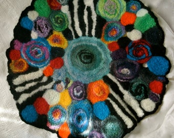 Textile Art, Felted Center-piece for the Table, Felted Wall Hanging, Color Study