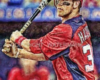 Bryce Harper Washington Nationals Limited  Rare Art Prt sn ony 50 12 x 18