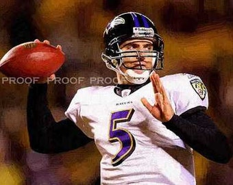 New Joe Flacco Baltimore Ravens Art Print LE 50 12 x 18