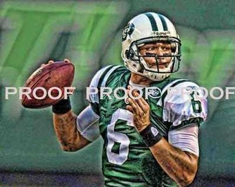 Rare Mark Sanchez New York Jets Art Prt sn oly 50