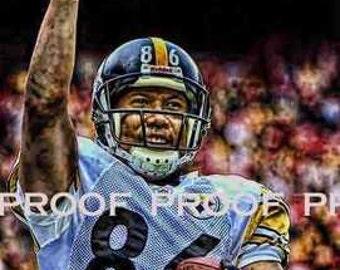 Rare Hines Ward Pittsburgh Steelers Art Prt sn oly 50