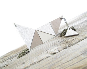 Beige leather necklace Geometric leather necklace