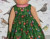 Christmas Bauble Dress with red Gingham trim on hem and neck