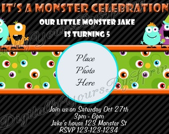 Printable Monster Birthday Party Invitation - You Print DIGITAL FILE