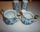 Four pieces vintage Lefton China Blue Paisley Shakers, Creamer, Sugar Bowl