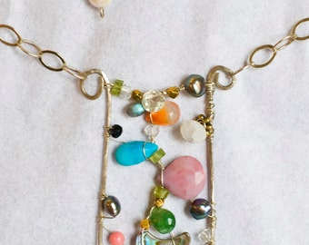 Carnevale gem art necklace wearable art