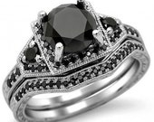 1.95ct Black Round Diamond Engagement Ring Bridal Set 14k White Gold