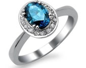 Fancy Blue .80ct Oval Diamond Engagement Ring 14k White Gold
