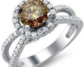 Brown 1.55ct Round Cut Diamond Engagement Ring 18k White Gold
