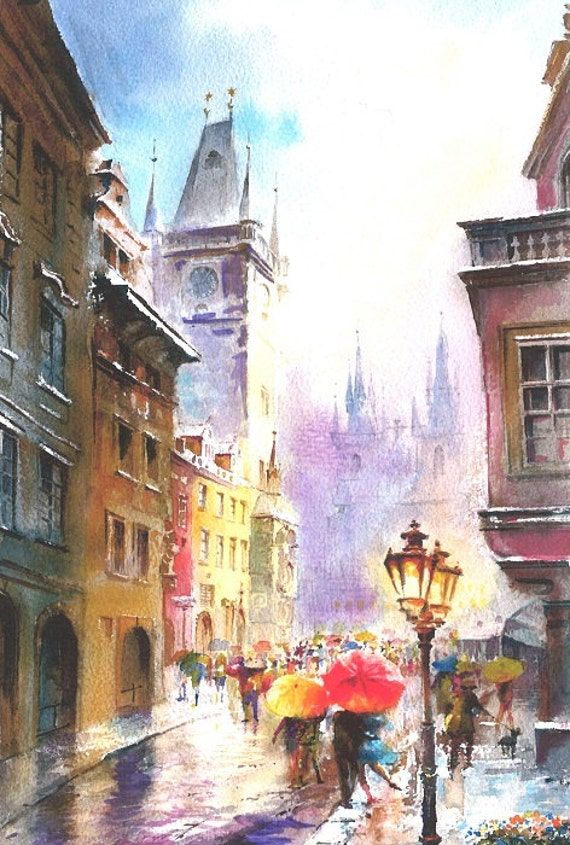 Print from Original Watercolor Painting Cityscape Art by ... - photo#18